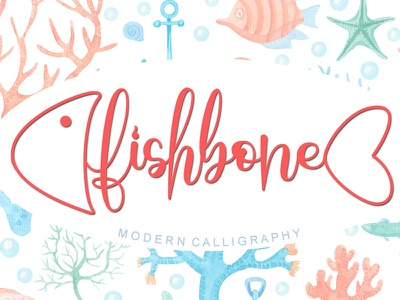 Fishbone Calligraphy Font valentine design wedding
