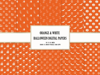 Orange & White Halloween Digital Papers ui logo digital papers halloween colorful illustration creative modern design clean