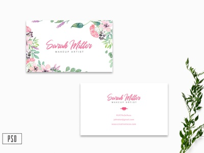 Floral Business Card Template V2 photoshop template