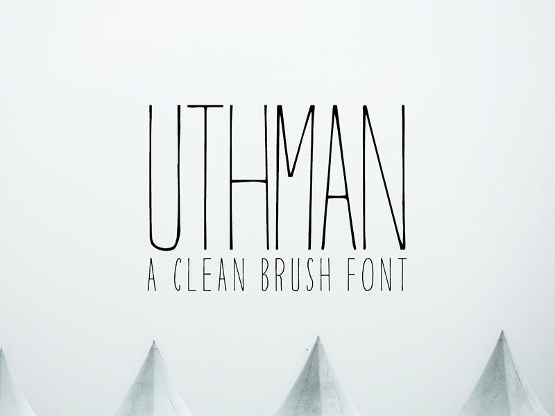 Free Uthman Brush Thin Font texture rusty natural texture music messy brushes logo ink horror hardcore handwritten font handmade brush