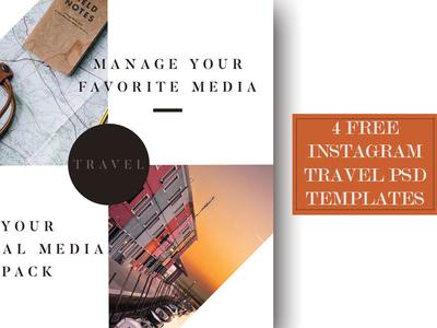 4 Free Instagram Travel PSD Templates
