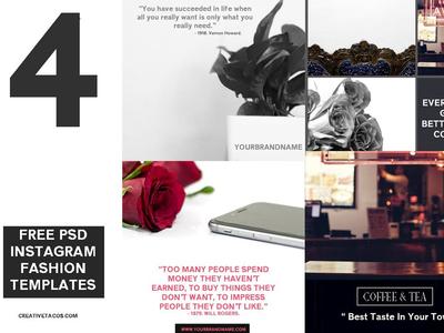 4 Free PSD Instagram Fashion Templates