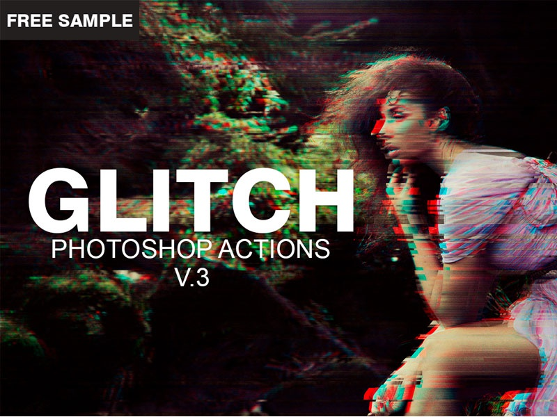 Free Glitch Photoshop PSD Actions Template V 3 by