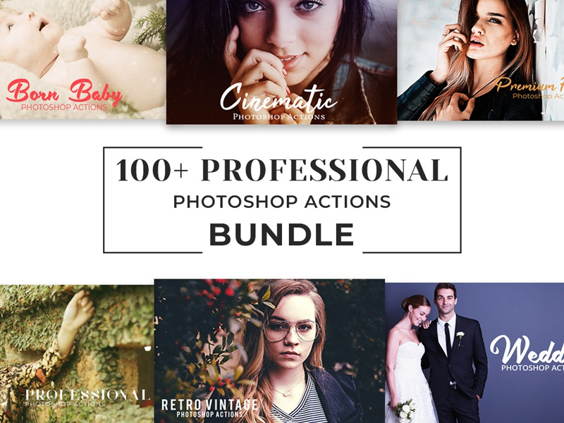 100 Free Pro Photoshop Actions Bundle by CreativeTacos on
