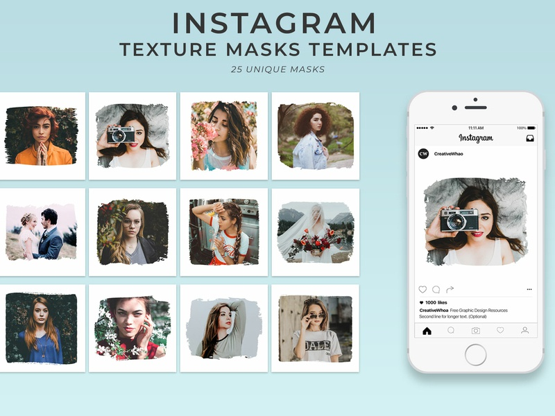 25 Free Textured Instagram Mask PSD Templates by