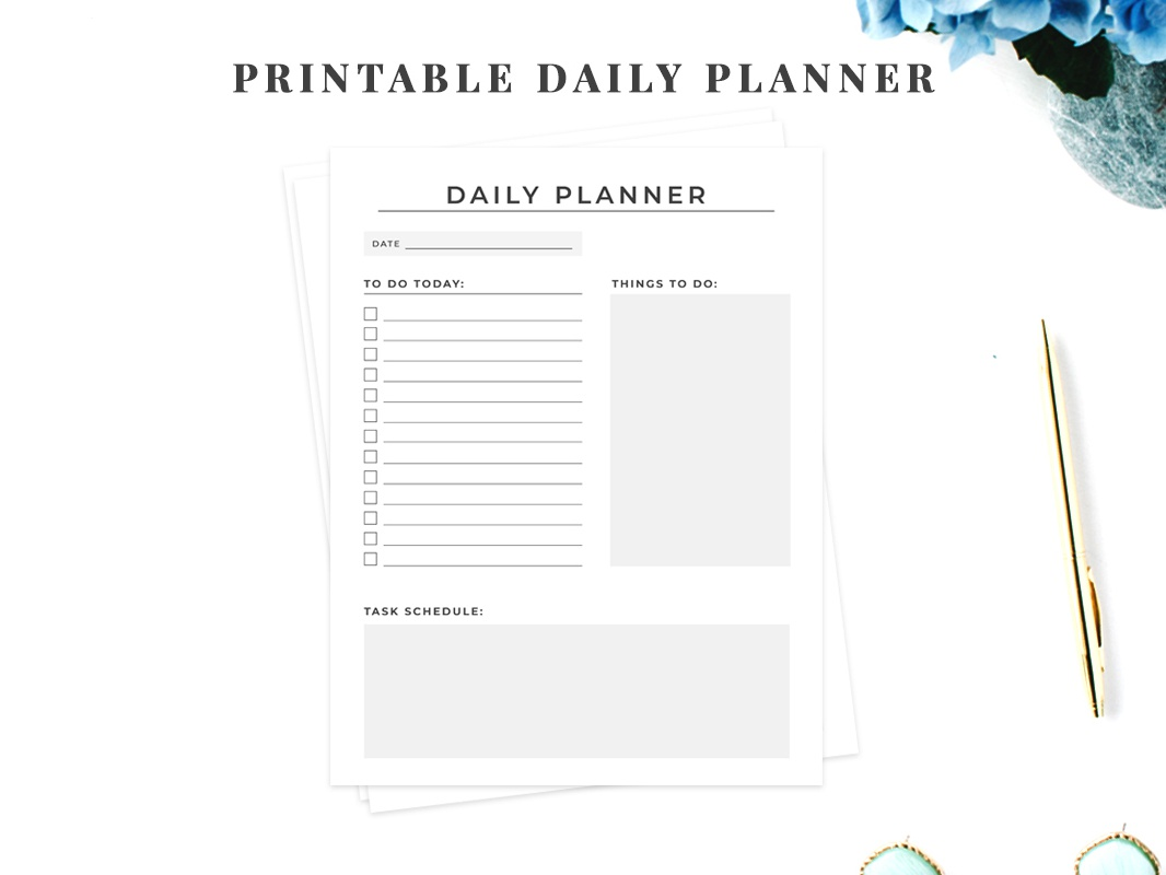 image relating to Printable Planners known as Absolutely free Printable Day-to-day Planner via CreativeTacos upon Dribbble