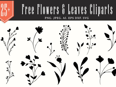 25+ Free Flowers & Leaves Handmade Cliparts 300 dpi floral vector decorative cliparts floral elements illustration leaves handmade cliparts vector printable vector cliparts