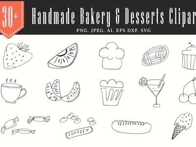 30+ Handmade Bakery & Desserts Cliparts toffee icecream desserts bakery handmadetype handmade clips vector illustration vectorart clipart design illustraion 300di