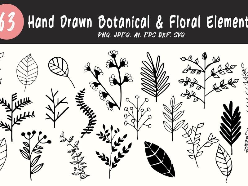 60+ Botanical & Floral Elements leaves logo handmade hand drawn botanical art florals floral art floral design bundle dribbble best shot shots 300 dpi 300dpi jpg clip art clipart illustraion