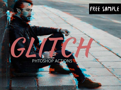 Free Glitch Effect Photoshop Action distortion distort displace digital shift channel broken bokeh artistic animation actions action