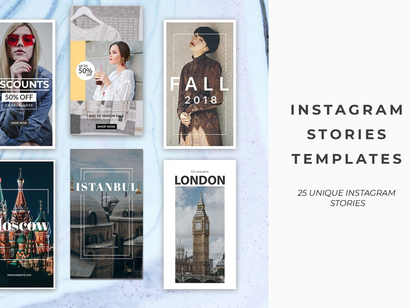 25 Instagram Stories Templates layout template fashion post beautiful minimal clean simple pack stories instagram