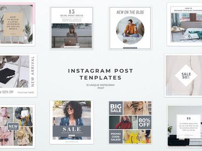 Simple Instagram Post Templates fashion board mood feminine stories media social template instagram blog