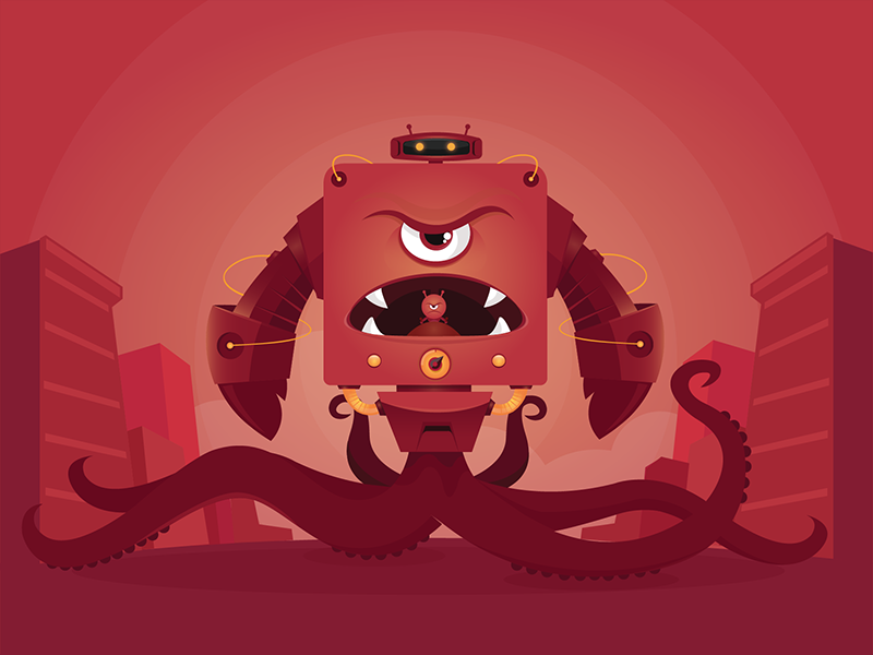 It's Mon(ster)day! design graphic monster robot vector character illustration