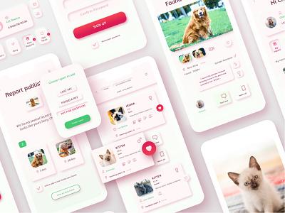 Find&Adopt Pet app animals charity adoption pet care pets pet neumorphism neumorphic design uxui ui ux interaction mobile app dribbble