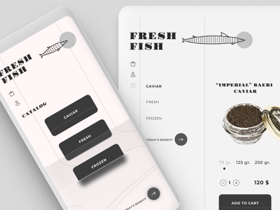 Fish shop UI grayscale black and white style responsive logo flexible desktop mobile cart product page product glass effect glass dayli dayliui shop fish ui idea