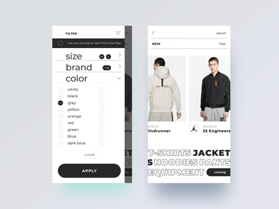 Product filter options ux design clothing store mobile app shopping ecommerce filter product ux