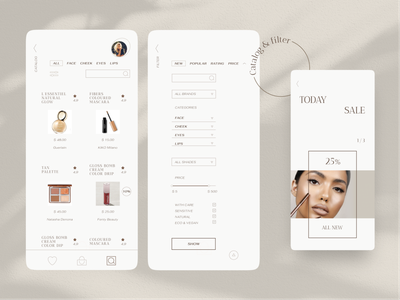 Cosmetics store screens design mobile beauty product inspiration compare filter profile page shopping ecommerce cart product page ux ui products makeup store cosmetics concept app