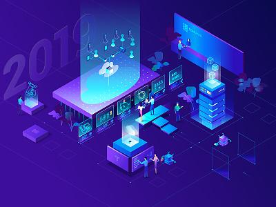 Teleallo 2019 teleallo phone people provider cloude voip calendar isometric illustration isometric