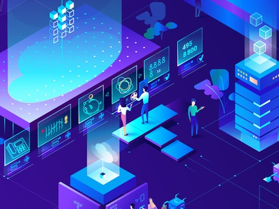 Isometric illustration VoIP provider calander cloud call-number cloud voip communication illustration isometric