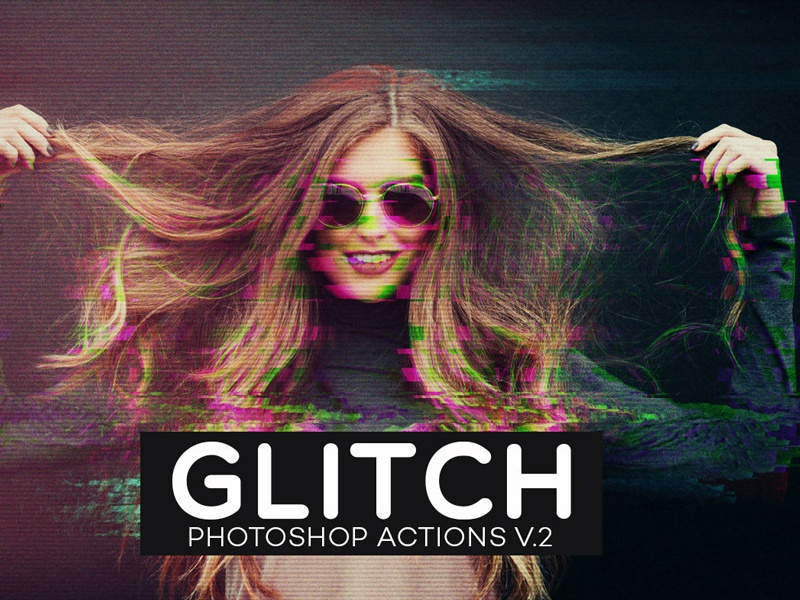 Free Glitch Photoshop Actions Ver. 2 bokeh bad signal channel shift broken distort photoshop 3d artistic photoshop action artistic action photoshop action glitch effect glitch photoshop action