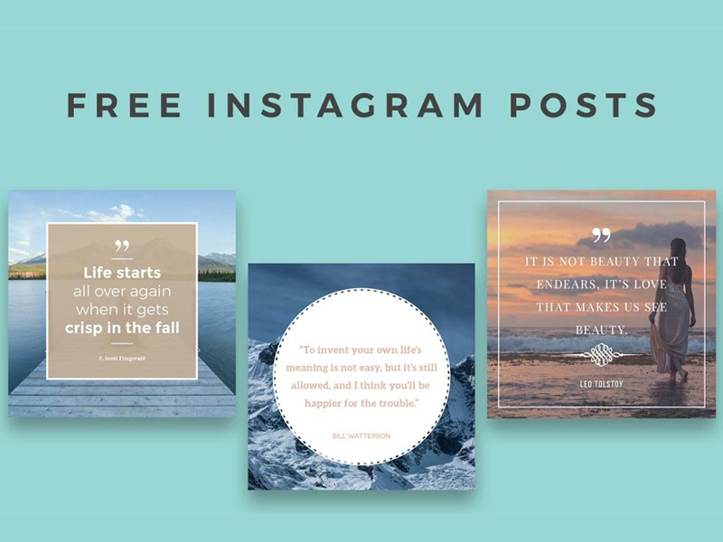 5 Free Instagram Posts Templates instagram photoshop social social pack social media shape psd mask photography promo promotional pack collection insta png blogger web web elements