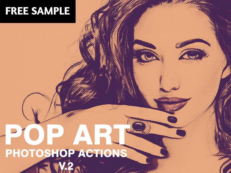 Free Pop Art Photoshop Actions V2 pop art photoshop andy warhol print canvas portrait screen diy action colorful