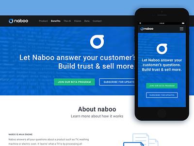 Naboo AI Technology logo design web design responsive ux ui branding e-commerce technology ai widget naboo