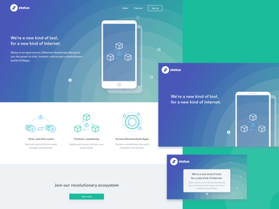 Status icons blue green gradients branding user interface