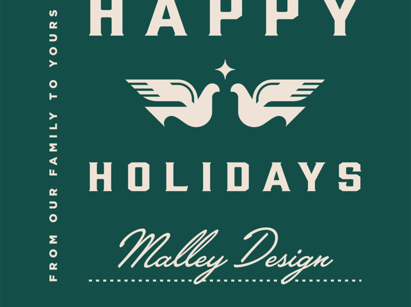 Happy Holidays! illustration typography doves christmas winter holiday