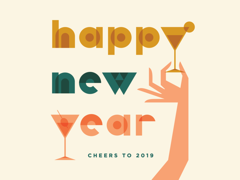 Happy New Year! typography cocktails drinks hands new year 2019 new year