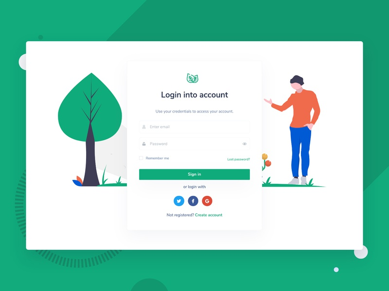 Login Page from Leaf Nonprofit Environmental Bootstrap Template themesberg template theme creative modern illustration environment clean green climate change environmental nonprofit ngo bootstrap4 bootstrap