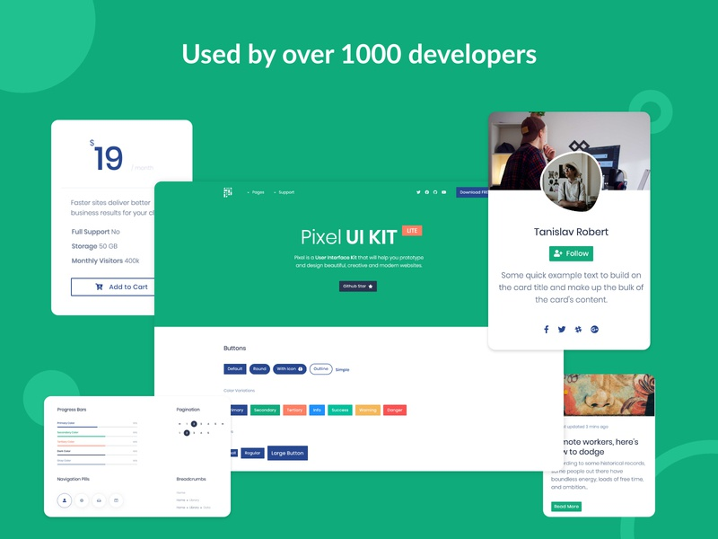 Pixel Lite Free Bootstrap UI Kit colorful modern clean themesberg bootstrap 4 progress bars profile card buttons badges cards components ui kits ui kit bootstrap4 bootstrap
