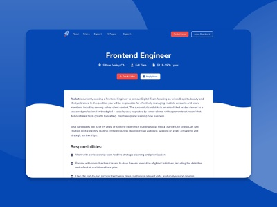 Rocket - SaaS Bootstrap Job Opening Page themesberg theme bootstrap4 bootstrap rocket saas job page job listing job opening job