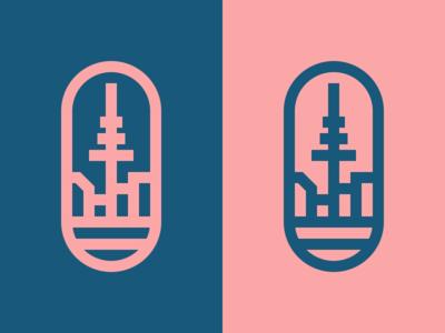 Small Kiel skyline simple minimal mark logo kiel illustration icon design city branding