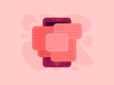 Overwhelmed tech social media phone overwhelmed message media illustration design