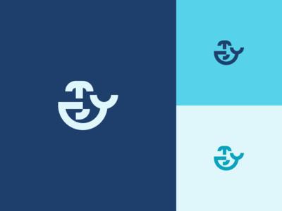 Whale whale simple minimal mark logo illustration icon design branding