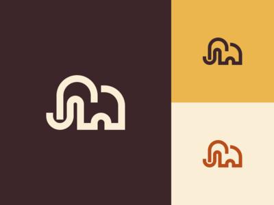 Mammoth simple minimal mark mammoth logo illustration icon design branding
