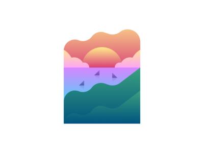 Sailing into the sunset sunset sun sky simple sailing ocean illustration design boat