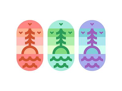 One Tree Island tree sky simple seagull sea ocean island illustration design bird