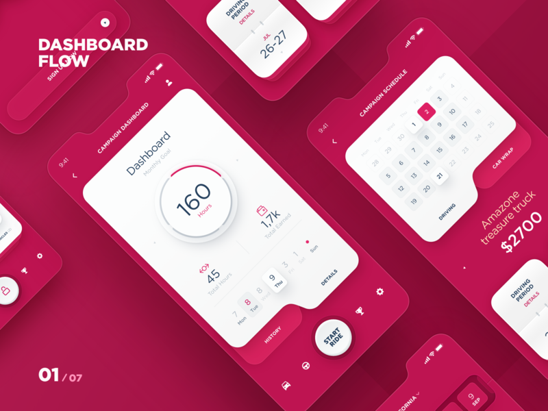 MAD - App Dashboard flow campaign schedule app calendar interface mobile apps car advertisement design taxi app mobile app ai ux ui data interaction dashboard event application design app dtail studio