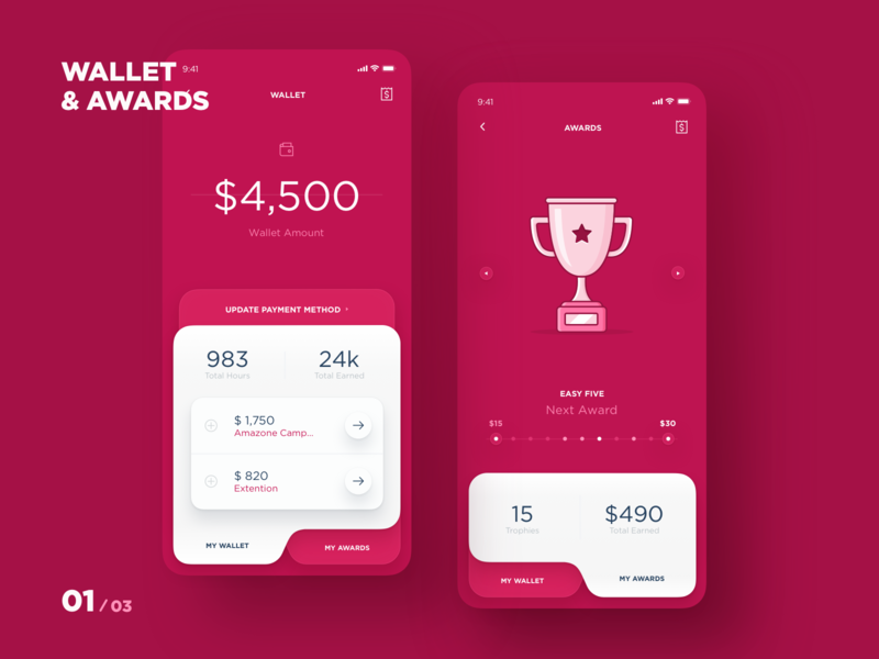 MAD - Wallet & Awards app design app transactions invoices award wallet taxi app interface interaction ux ui