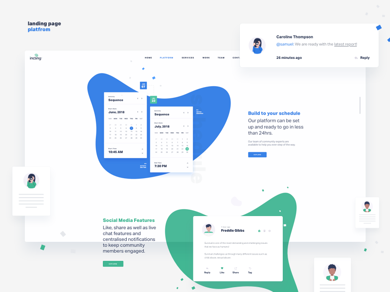 Platform Features landing page event layout minimal dashboard interface data analytics website responsive ux web design ui ux product clean ux design concept freebie dtail
