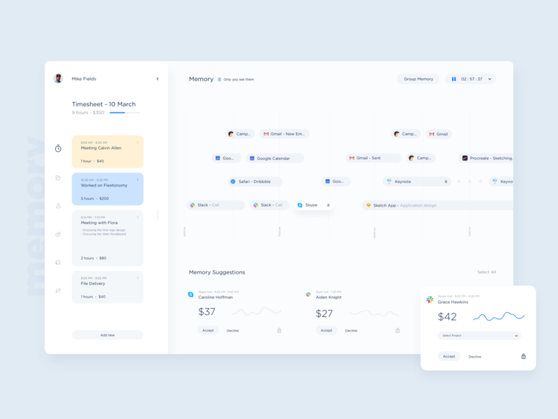 Memory UI Shot dtailstudio spend analytics app project management team invoice report minimal web ux ui task project timeline freelance dashboard timesheet tracker time