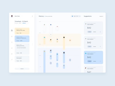 Memory  UI - Grouping time logs dtailstudio time tracker timesheet dashboard freelance timeline project task ui ux web minimal report invoice team project management app analytics spend