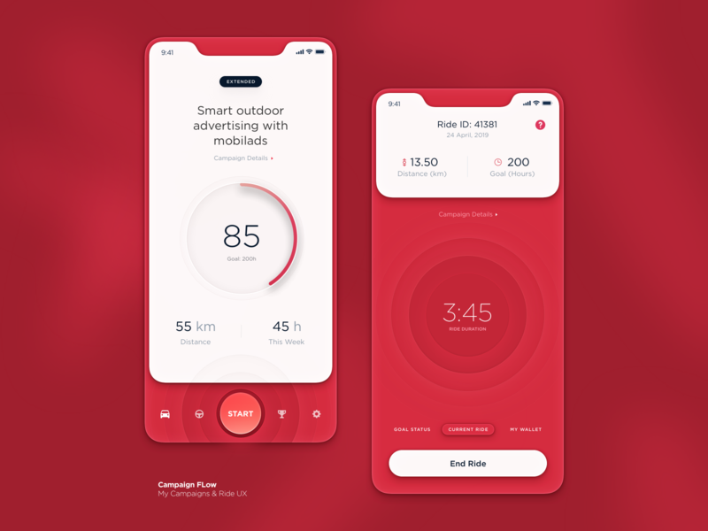 Car Advertisement App earnings ride design system product design campaign advertising statistics data tracking interaction interface analytics dtailstudio app ux ui