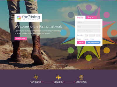Women's Network interface beautiful vibrant colourful network homepage ux ui web design website