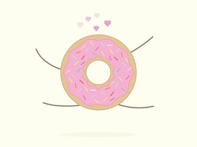 That feeling love happy sprinkles dessert sweet food pastels flat illustration donut doughnut