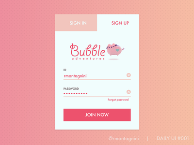 Sign up form for Daily UI 001 illustration web design form flat beautiful cute ux ui sign up form dailyui001 001 dailyui