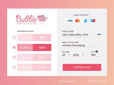 Credit Card Checkout - Daily UI #002 payment pink widget checkout modal dailyui shopping cart store shop webdesign ui design ux design
