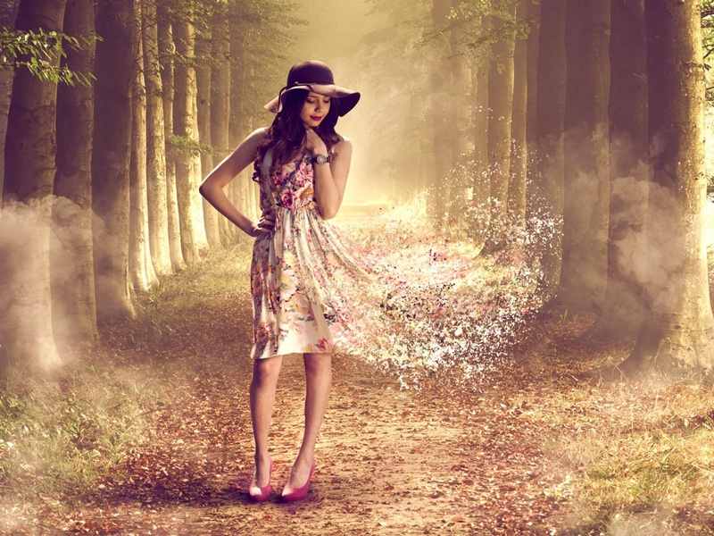 The Magic Enchanted Forest nature girl woman trees photographer model composition dreamy image manipulation photography photoshop magic